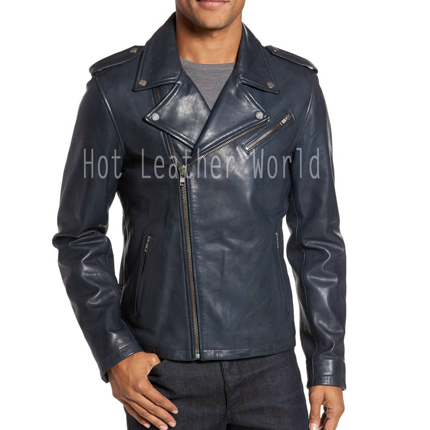 Men Moto Leather Biker Jacket -  HOTLEATHERWORLD