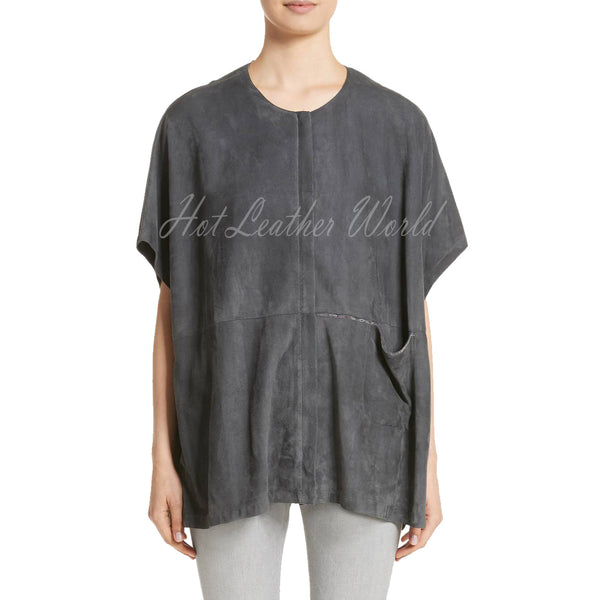 Oversize Women Suede Leather Top -  HOTLEATHERWORLD