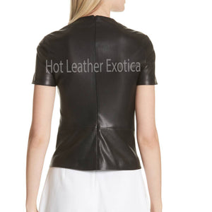Short Sleeves Women Leather Top -  HOTLEATHERWORLD