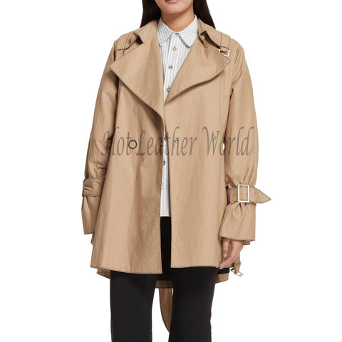 Oversize Women Leather Trench Coat -  HOTLEATHERWORLD