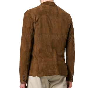 Casual Single-Breasted Suede Men Leather Blazer -  HOTLEATHERWORLD