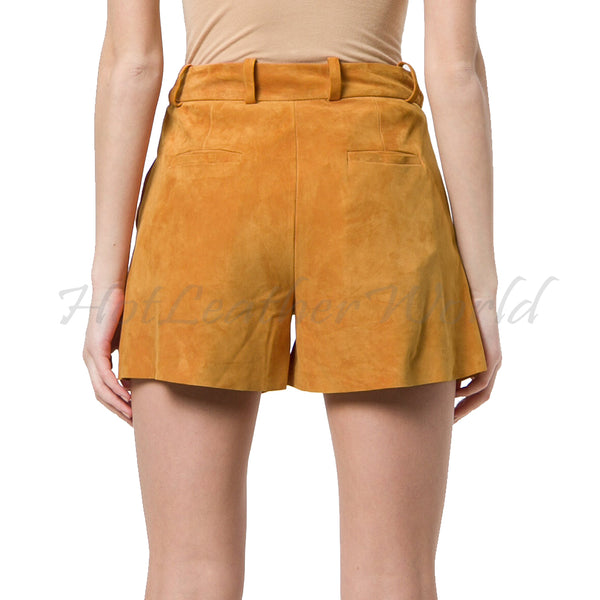 Suede Leather loose women shorts -  HOTLEATHERWORLD