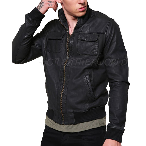 Faux Leather Men leather Bomber Jacket -  HOTLEATHERWORLD