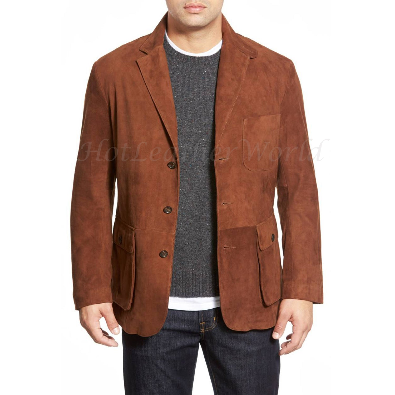 Suede Leather Blazer For Men -  HOTLEATHERWORLD