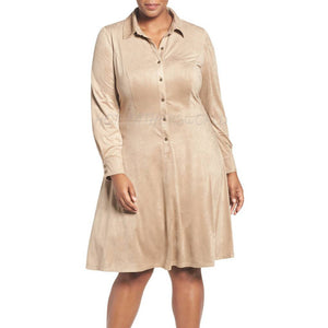Plus Size Suede Shirt Dress -  HOTLEATHERWORLD