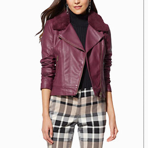 FAUX FUR COLLAR WOMEN LEATHER MOTO JACKET -  HOTLEATHERWORLD