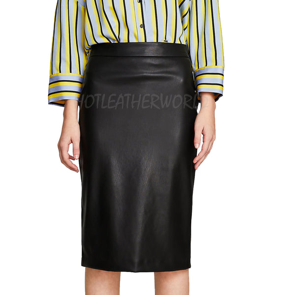 Faux Leather Pencil Skirt -  HOTLEATHERWORLD