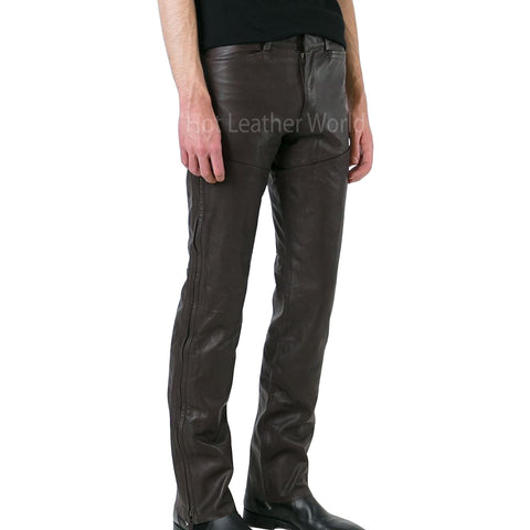 Classic Paneled Men Leather Pants