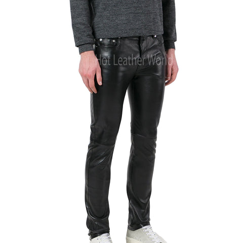 Trendy Skinny Leather Pants