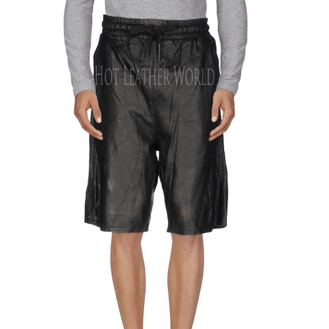 Perforated Leather Shorts For Men -  HOTLEATHERWORLD