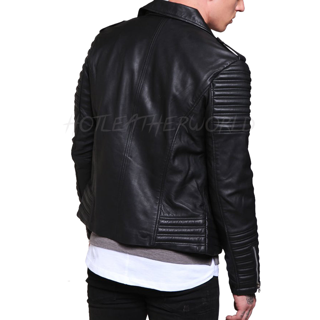 Stitch Detailing Men Leather Jacket -  HOTLEATHERWORLD
