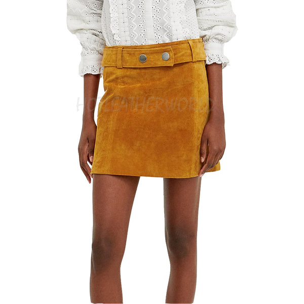 Suede Leather Mini Skirt -  HOTLEATHERWORLD