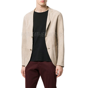 Buttoned Men Suede Leather Blazer Jacket -  HOTLEATHERWORLD