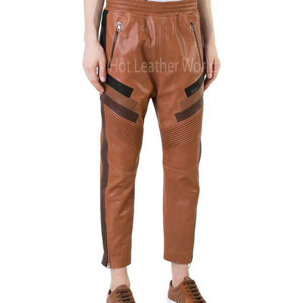 Classic Cropped Men Leather Pant