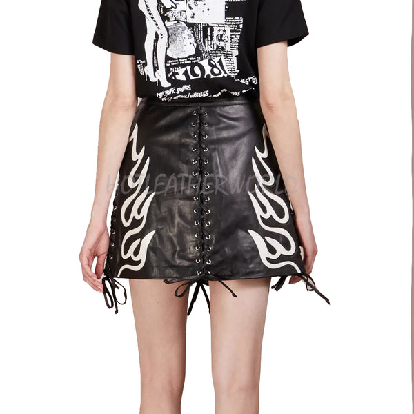 Flame Lace Up Leather Mini Skirt -  HOTLEATHERWORLD