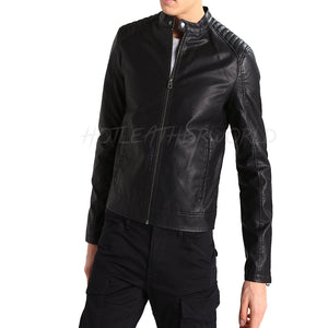 Tab Collar Men Faux leather jacket -  HOTLEATHERWORLD