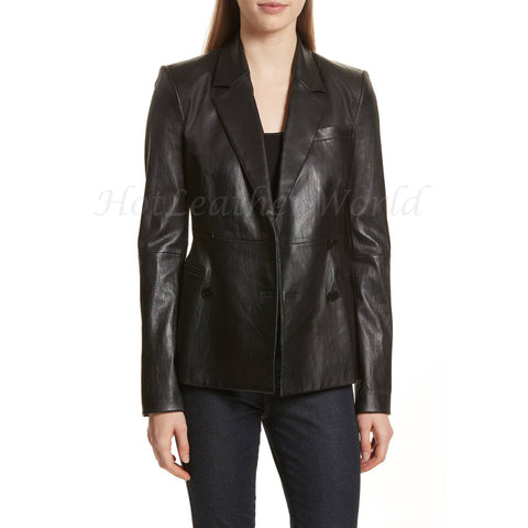 Classic Style Women Leather Blazer -  HOTLEATHERWORLD