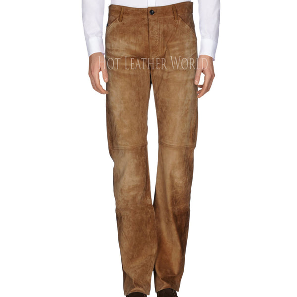 Men Suede Leather Pant -  HOTLEATHERWORLD
