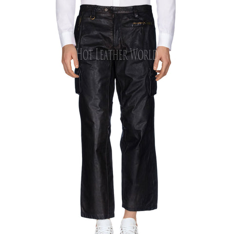 Cropped Leather Pants For Men