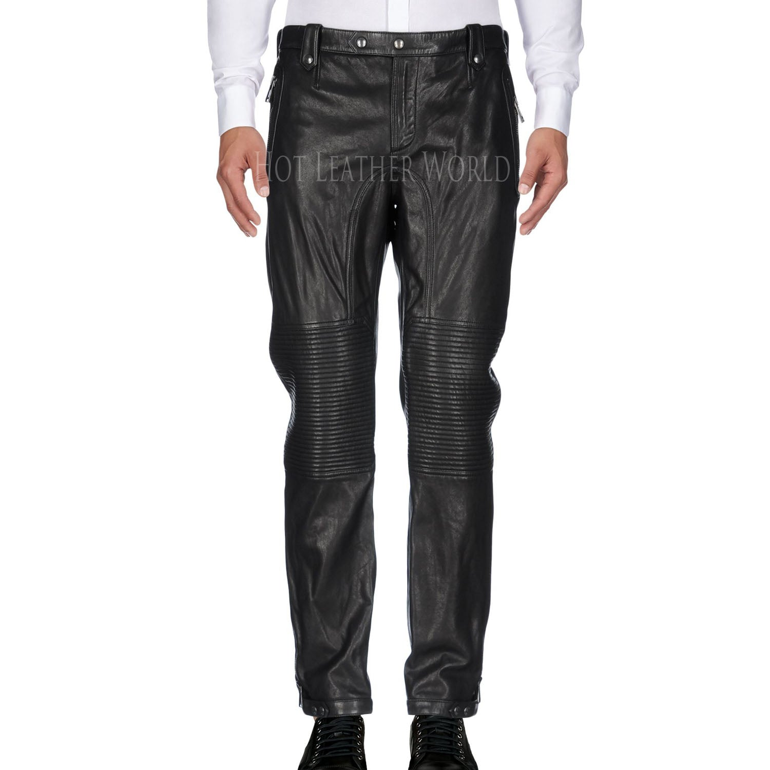Classical Style Men Leather Pant -  HOTLEATHERWORLD