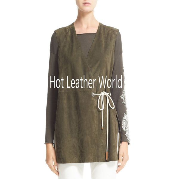 Front Tie Suede Vest Style Top -  HOTLEATHERWORLD