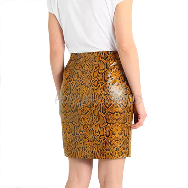 Animal Print Pencil Leather skirt -  HOTLEATHERWORLD