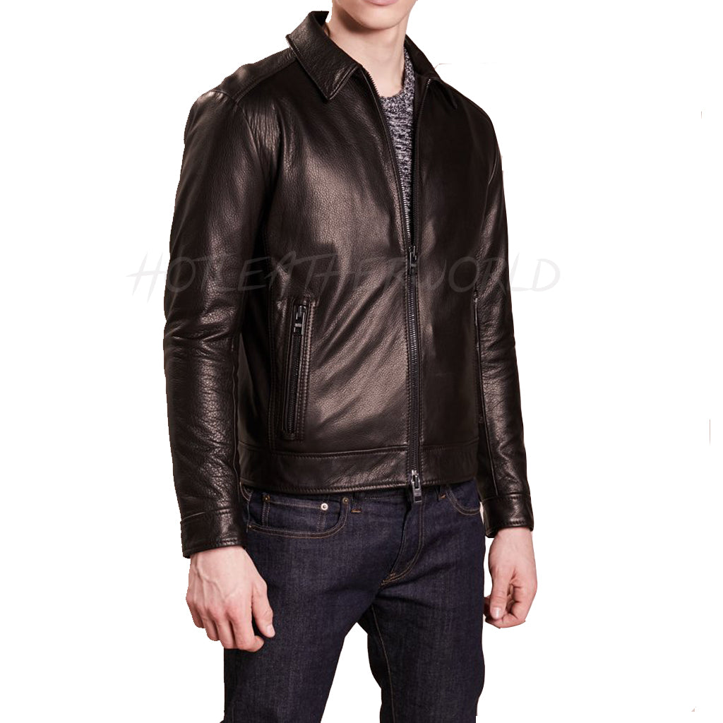 Stander Collar Men Leather Jacket -  HOTLEATHERWORLD