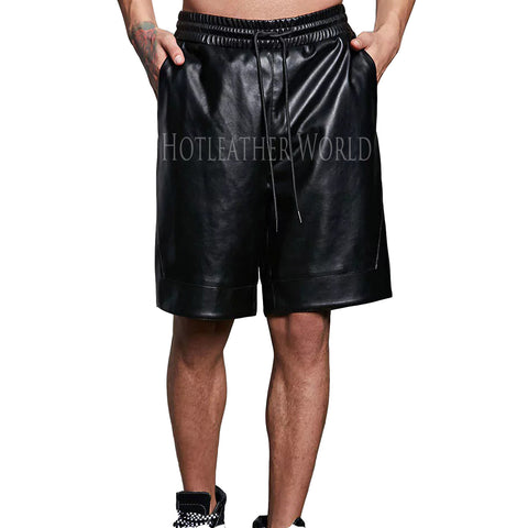 CLASSIC STYLE FAUX LEATHER SHORTS -  HOTLEATHERWORLD