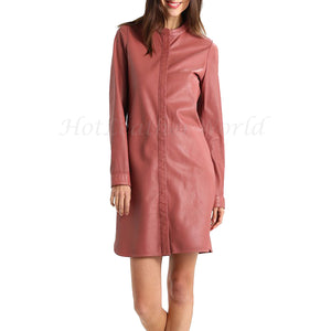 Mandarin Collar Women Leather Dress -  HOTLEATHERWORLD