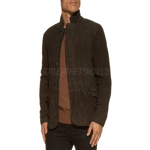 Suede Long Sleeves Leather Blazer -  HOTLEATHERWORLD