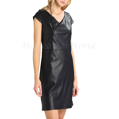 V Neckline Mini Leather Dress -  HOTLEATHERWORLD