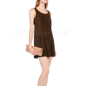 Suede Leather Women Dress -  HOTLEATHERWORLD