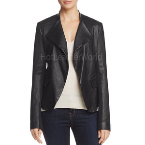 Peplum-Detail Women Leather Blazer -  HOTLEATHERWORLD