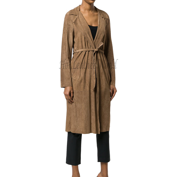 Suede Leather Belted Women Trench Coat -  HOTLEATHERWORLD