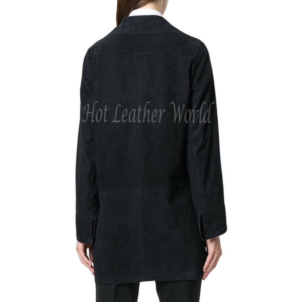 Single Breasted Women Suede Leather Coat -  HOTLEATHERWORLD