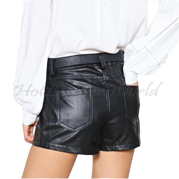 Hot Short Leather Shorts For Women -  HOTLEATHERWORLD