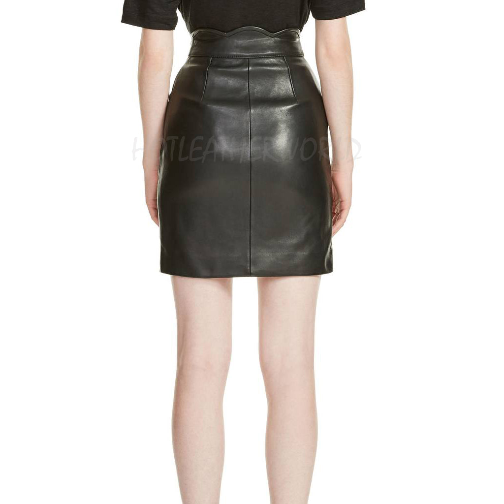 High Waist Women Leather Skirt -  HOTLEATHERWORLD