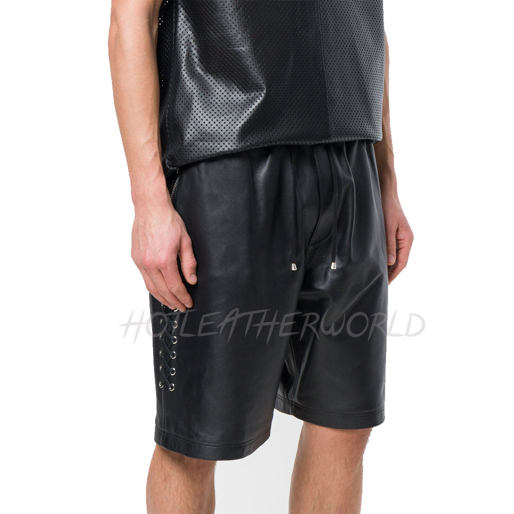 Lace-Up Sports Men Leather Shorts -  HOTLEATHERWORLD