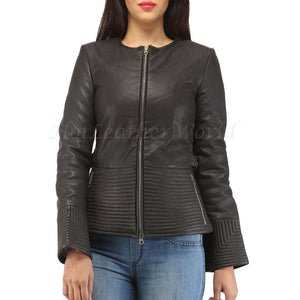 Stitch Detailing Women Leather Jacket -  HOTLEATHERWORLD