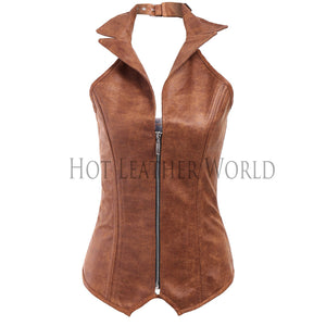Turn-Down Collar Leather Corset -  HOTLEATHERWORLD