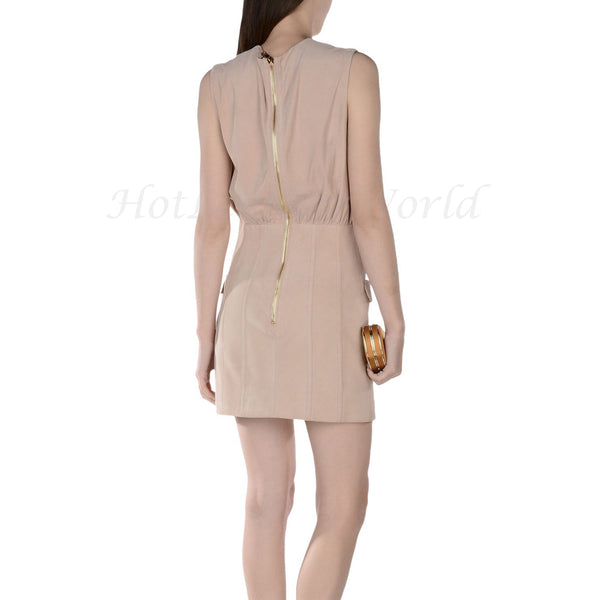 Suede Leather V Neckline Women Dress -  HOTLEATHERWORLD