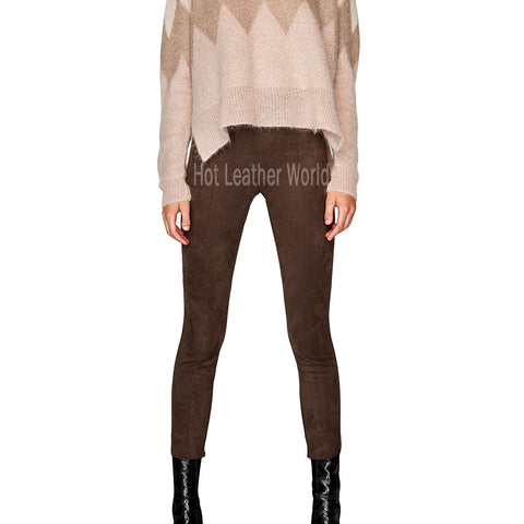 PANLED SUEDE LEATHER WOMEN PANTS -  HOTLEATHERWORLD