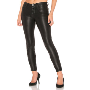 Classic Style Women Narrow Bottom Leather Pant -  HOTLEATHERWORLD