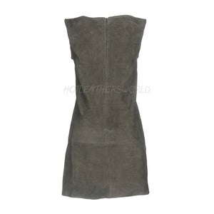 Suede Short Leather Dress -  HOTLEATHERWORLD
