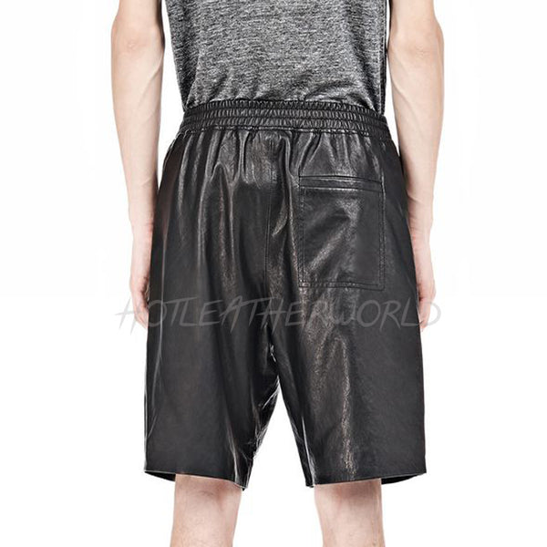 Regular Fit Men Leather Shorts -  HOTLEATHERWORLD