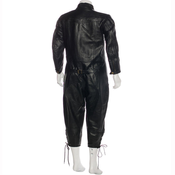 Standing Collar Women Leather Jumpsuit -  HOTLEATHERWORLD