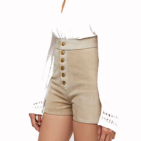 EMBROIDERED SUEDE LEATHER HOT SHORTS FOR WOMEN -  HOTLEATHERWORLD