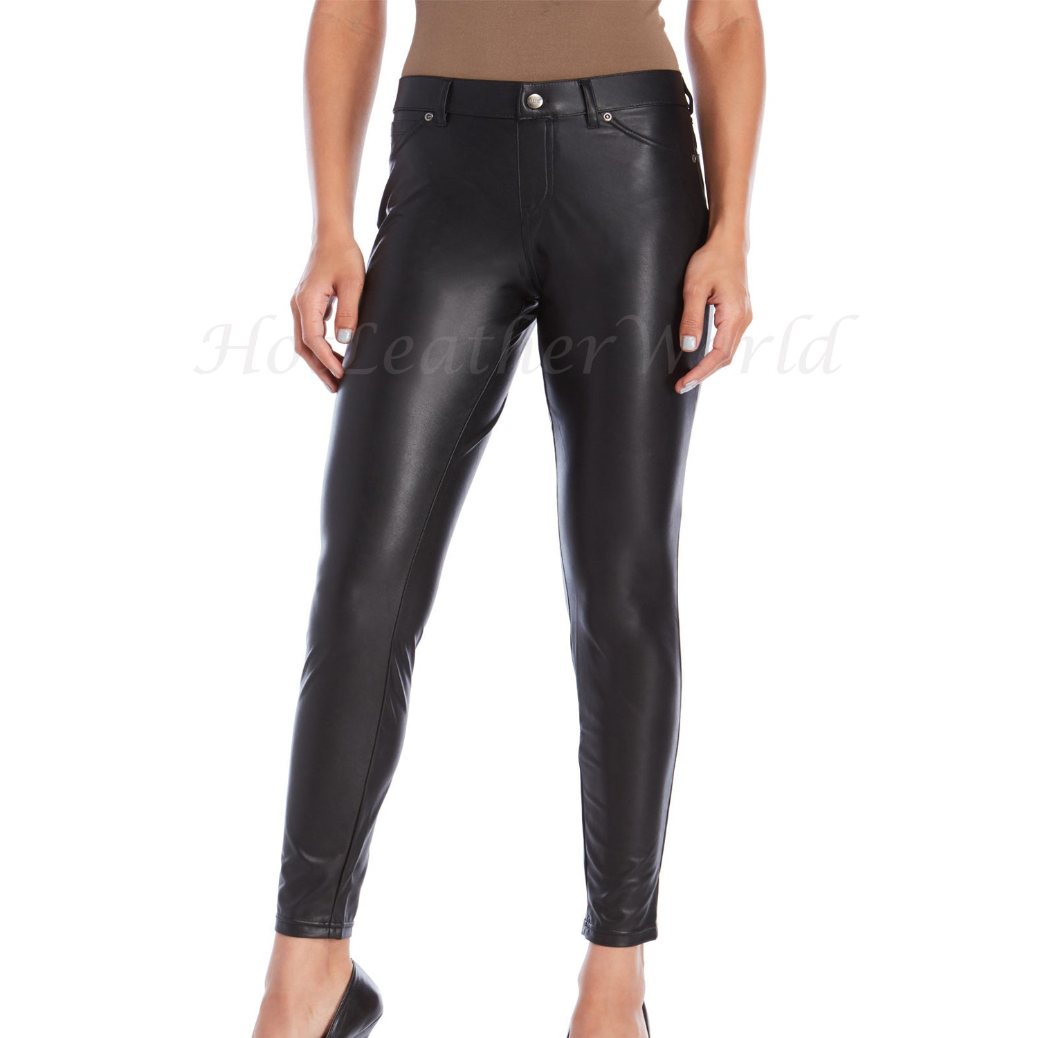 Women Classic Style Leather Legging -  HOTLEATHERWORLD