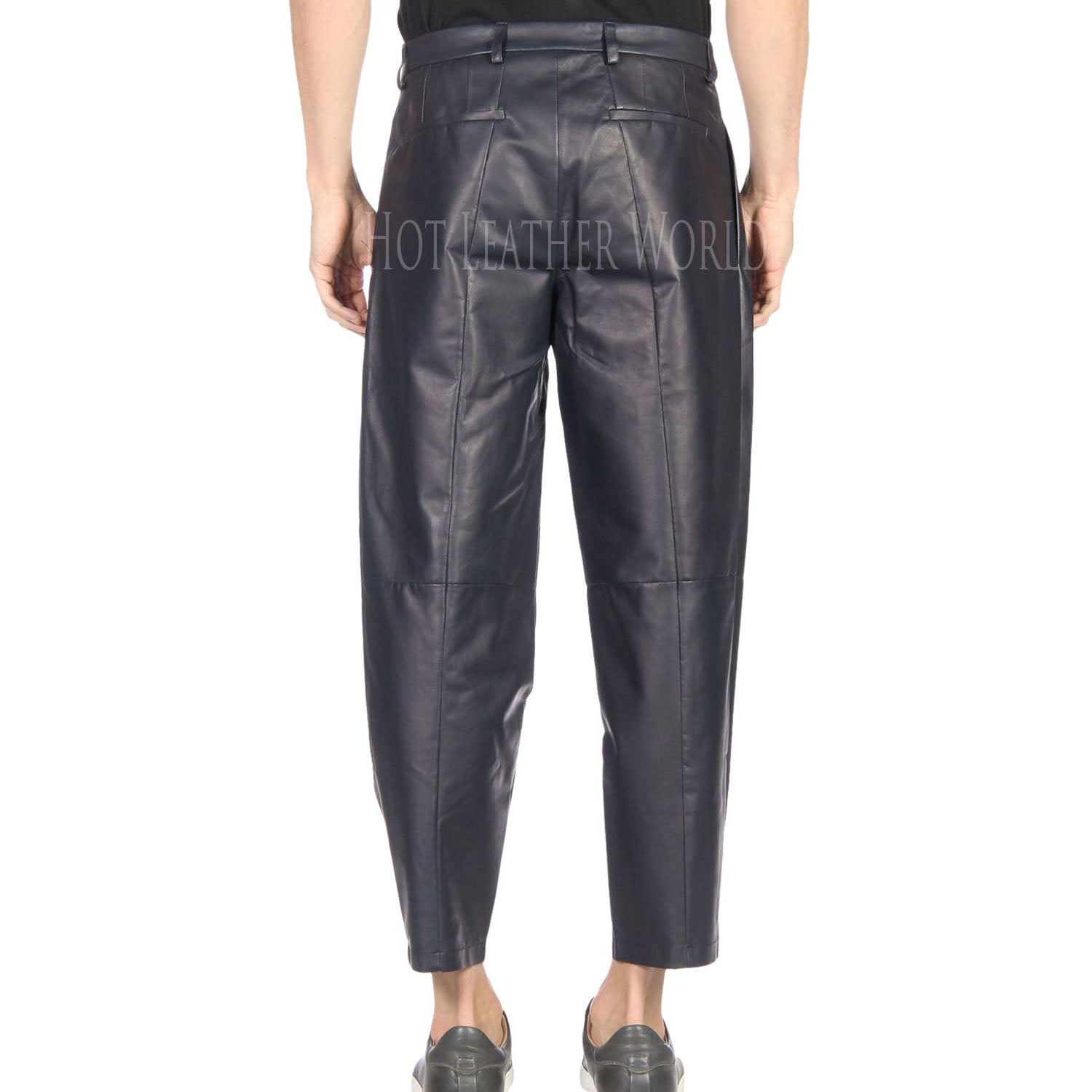 Loose fit Leather Pant For Men -  HOTLEATHERWORLD