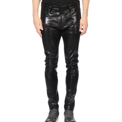 SKINNY LEATHER PANT FOR MEN -  HOTLEATHERWORLD